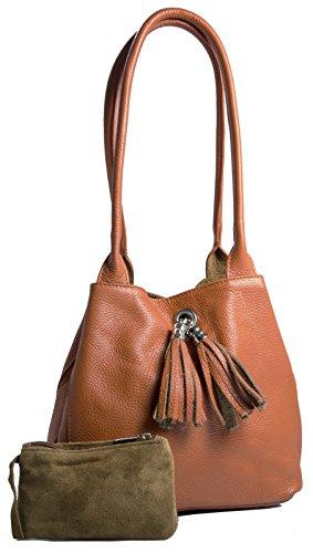 LiaTalia - Piccola borsa reversibile in morbida vera pelle scamosciata - ELLA Arancione