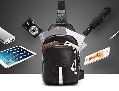 Shoulder Bag Messenger Men Daypack Crossbody Casual Chest Bag Genuine aiaimei Black Sport Sling Hiking Bags For Backpack Db9100 Business Leather Travel wttYA