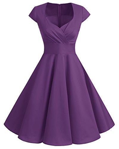 (Bbonlinedress Women Short 1950s Retro Vintage Cocktail Party Swing Dresses Purple XL )