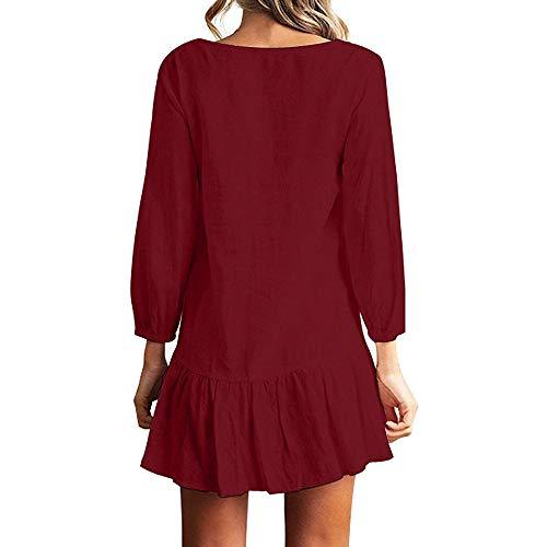 avec Femme Bordeaux V Top Lache Dcontract Irrgulier Volante Chemise Manches Ourlet Boutons Mini Automne Blouse T Shirt Col Longue Robe wgrqHgPxI