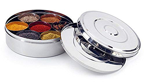King International Stainless Steel Spice Box with Steel Lid and 7 Containers and 1 Spoon | Spice Box Indian Masala Dabba with 7 Spice Containers, Spoon and Double Lid Keeps Spices Fresh