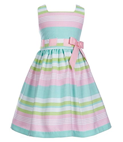 Tie Back Linen Dress (Bonnie Jean Toddler Girls Easter Pink / Green Multi Striped Linen Party Dress, Pink, 2T)