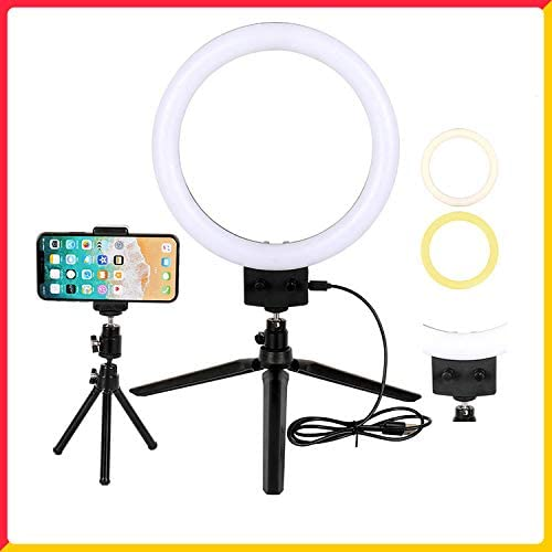 MeterMall Electronics 7 LED Ring Light Camera Photo 2800-5500K Dimmable LED Ring Lamp with Tripod