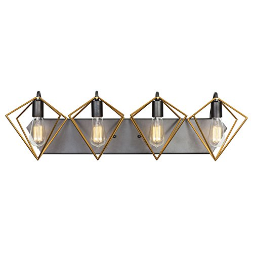 Varaluz 261B04AGRB Metropolis Bath Vanity, 4 Light, Antique Gold/Rustic Bronze - Two Tone Bath Light