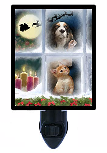 (Christmas Night Light, Window Watchers, Dogs, Cats, Santa's Sleigh - LED Night Light)