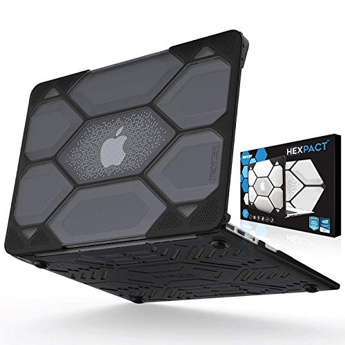 IBENZER Hexpact MacBook Air 13 Inch Case 2019 2018 Release New Version A1932, Heavy Duty Protective Case for Apple MacBook Air 13 Retina with Touch ID, Black, LC-HPE-AT13BK