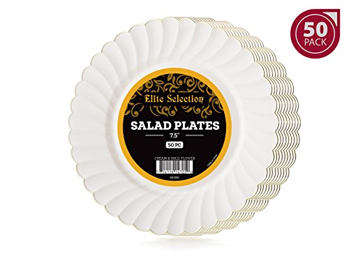 Elite Selection Pack Of 50 Salad / Dessert Disposable Party Plastic Plates Cream Ivory Color With Gold Flower Rim 7.5-Inch
