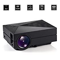 GM60 Full Color 130 Video Projectors,GoerTek® Entertainment Home Cinema Projector,Portable Mini 1000 Lumens LCD Multimedia Beamer LED Projector (Black)