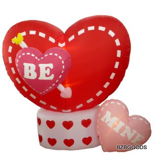 8 Foot Animated Inflatable Valentine's Hearts w/ Rotating Heart - Romantic Valentine Gift for Couple, Cute Anniversary Gift Idea by BZB Goods