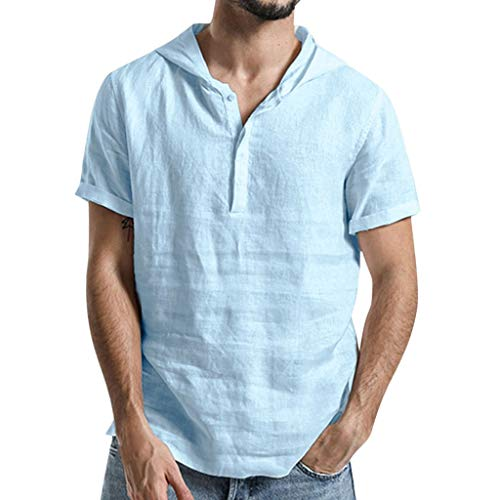 - Nuewofally Mens Loose Solid Short Sleeve Shirts Cotton Linen Henley Hooded Sweatshirt Button Up Banded Collar Blouse (Light blue,2XL)