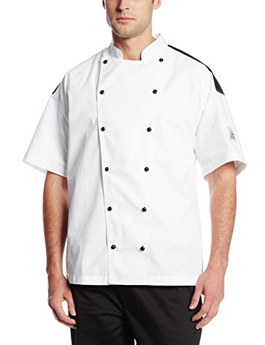 Chef Revival J031 Chef-Tex Poly Cotton Bermuda Short Sleeve Chef Jacket with Black Yoke and Black Push Through Button, Small, White by Chef Revival