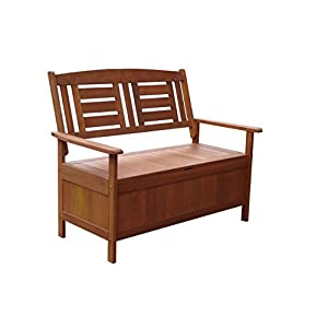 Lautan LLC Kalbarri Garden Storage Bench Unique Style Outdoor Seat Wood Chair
