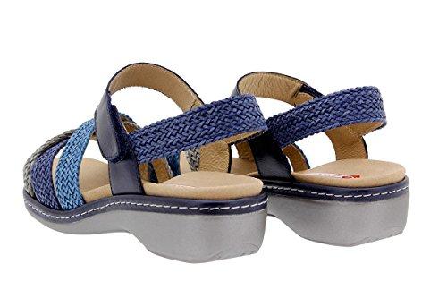 Calzado mujer confort de piel Piesanto 1809 Sandalia Plantilla Extraíble cómodo ancho Gris-Azul-Turquesa