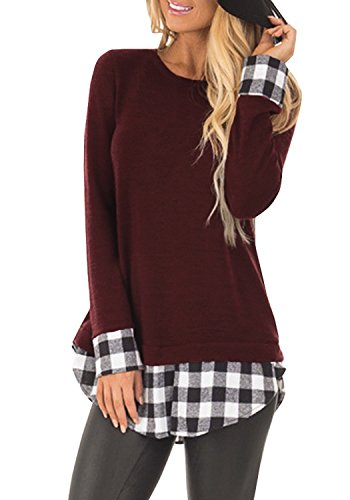 (SUNNYME Women's Long Sleeves Plaid Shirts Blouses Crew Neck Tunic Loose Fit Tops Wine Red M)