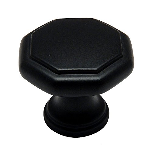 Cosmas 5181FB Flat Black Cabinet Hardware Octagon Knob - 1-1/4