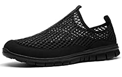 CUSSELEN Men's Lightweight Slip On Mesh Sneakers Breathable Running Shoes Athletic Outdoor Sport Shoes
