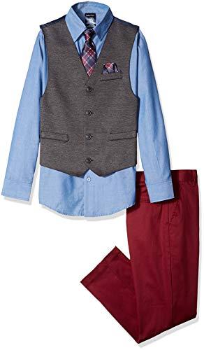 Nautica - Conjunto de Chaleco, pantalón, Playera y Corbata para niño, Aqua Stone Blue, 2 Años