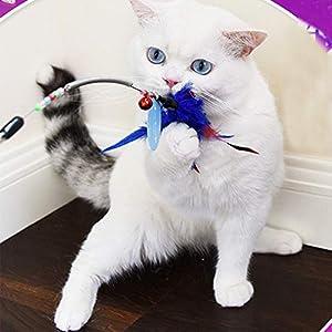 AIDIYA Juguete para Gatos con Plumas y Varita de Juguete para Gato Juguete de Varita con Plumas (Rojo)