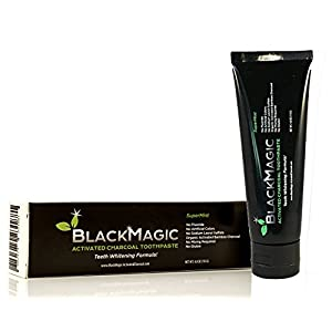 Charcoal Toothpaste for Teeth Whitening with Activated Carbon Coco & Coconut Oil Natural Teeth Whitener | MADE IN USA | Fluoride Free, Vegan, Removes Bad Breath, Best All Natural Product | BlackMagic