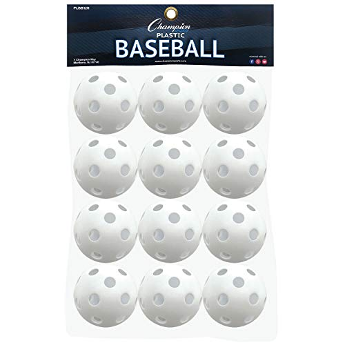 (Champion Sports White Plastic Baseballs: Hollow Balls for Sport Practice or Play - 12 Pack)