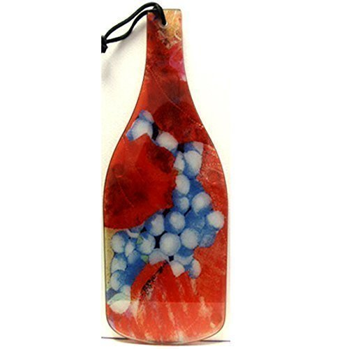 [Wine Bottle Shaped Glass Cutting Board, Pinot Noir Grapes Artwork, Wedding Housewarming Gift] (Grape Glass Platter)