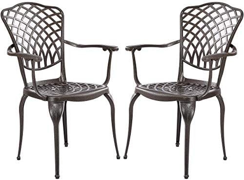 Kinger Home Patio Outdoor Dining Metal Chairs, Set of 2, Cast Aluminum, Lattice Weave Design – Brown