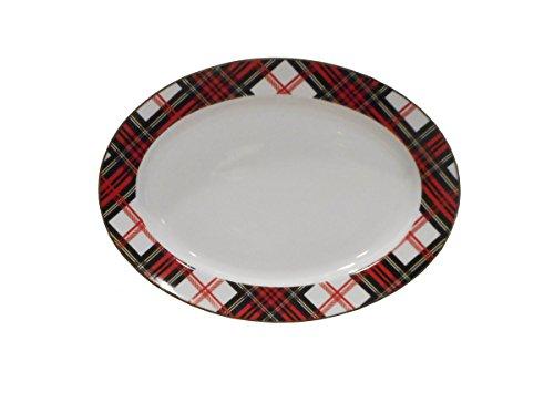 Red, Black, White Plaid Serving Platter by 8 Oak Lane, 14