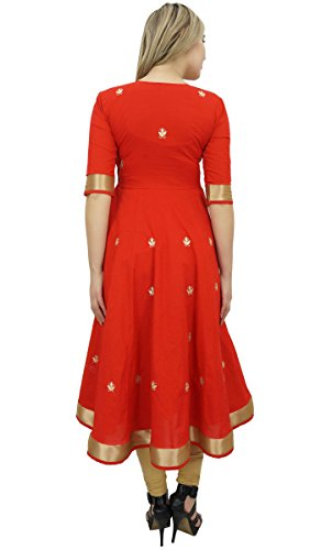 Bimba Designer Red Anarkali Kurta Indian Ethnic Gota Work Cotton Kurti-10 by Bimba (Image #1)