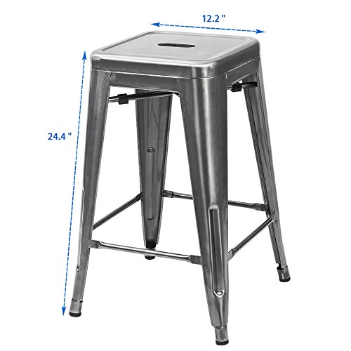 Furmax 24 High Metal Stools Backless Silver Metal Bar