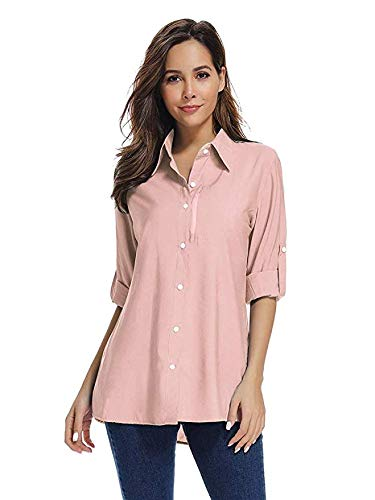 Women's Quick Dry Sun UV Protection Convertible Long Sleeve Shirts for Hiking Camping Fishing Sailing#XJ5019,Pink, 2XL by Toomett