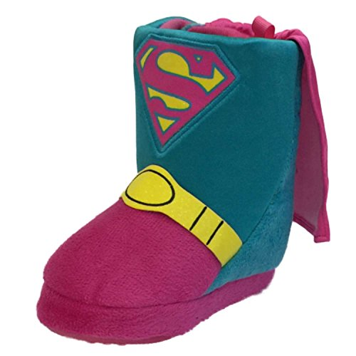 (Supergirl Toddler Girls Pink & Blue Slippers Super Girl Boot House Shoes S(5-6))