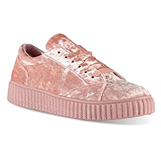 Twisted Women's Olivia Velvet Platform Creeper Fashion Sneaker
