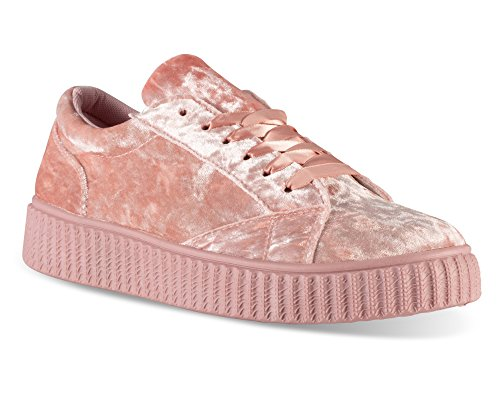 Twisted Women's Olivia Velvet Platform Creeper Fashion Sneaker - OLIVIA02 Mauve, Size...