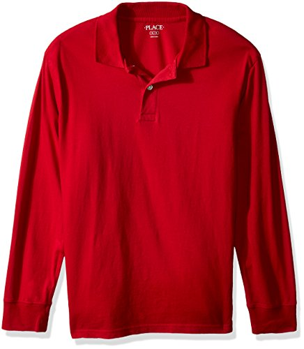 The Children's Place Big Boys' Long Sleeve Polo, Classicred, M (7/8) (Uniform Shirt Red)