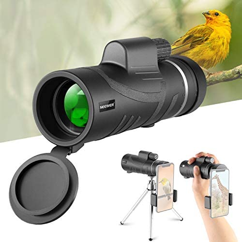 Neewer Monocular Telescope, 12X50 High Power HD with Smartphone Holder and Tripod – Waterproof with Durable Clear FMC BAK4 Prism Compatible with iPhone Samsung Galaxy for Bird Watching Camping Hiking