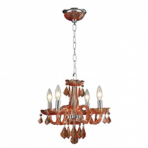 Clarion 4 Light Mini Crystal Chandelier, Chrome Finish and Crystal Chandelier (Coral (Red Coral Chandelier)