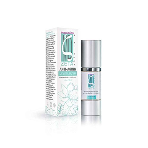 Advanced Retinol 2.5% Moisturizer by ZetaMD Organics - Anti Aging Skin Care Formula with Natural Vegan Hyaluronic Acid, Jojoba Oil and Green Tea