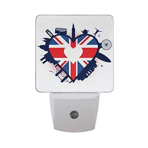 xiaodengyeluwd 2 Pack UK Heart Shaped British Flag Union Jack Big Ben Bus Tea Pot London Eye Bridge Soccer Surfboard Polka Dot Auto Sensor LED Dusk to Dawn Night Light Plug in Indoor for Adults -