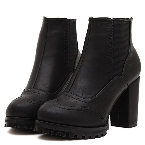 Solid PU Allhqfashion Heels high on Pull Women's Ankle Black High Boots HYqwfFRpw