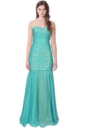 La Femme Pleated Strapless Sequin Chiffon Mermaid Gown Dress (Formal Gown Femme La)