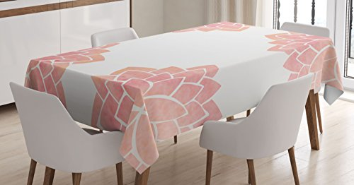 Ambesonne Floral Tablecloth, Watercolor Petals Lotus Flower Meditation Yoga Spiritual Flora Beauty Artwork, Dining Room Kitchen Rectangular Table Cover, 60W X 90L inches, Coral Light Pink by Ambesonne