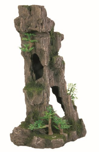 Trixie 8857 Aquarium Decoration Rock Formation With Caves / Plants Upright 28 Cm (Rock Trixie)