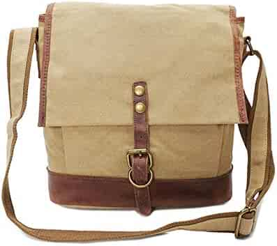 Y/αY/α Simple Retro Large-Capacity Buckle Waterproof Square Canvas Shoulder Bag Messenger Bag