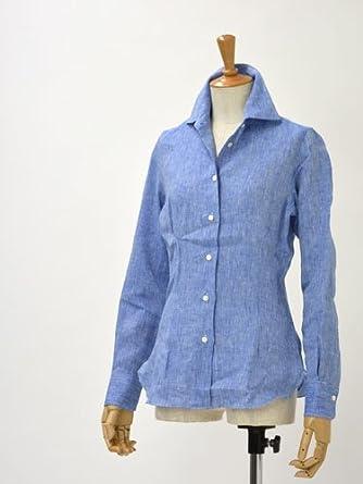 17f845e6dbb4d Amazon | BARBA【バルバ】リネンシャツ 615/11U linen BLUE(ブルー) (38) | シャツ・ブラウス 通販
