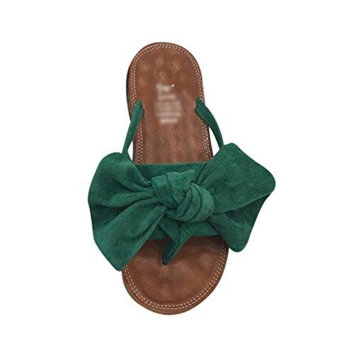 Scarpe Sandali Casa Spiaggia Sandali Bowknot Blocco LvRaoo Infradito Estate Verde Pantofole a da Tacco con Donna vWg8qB