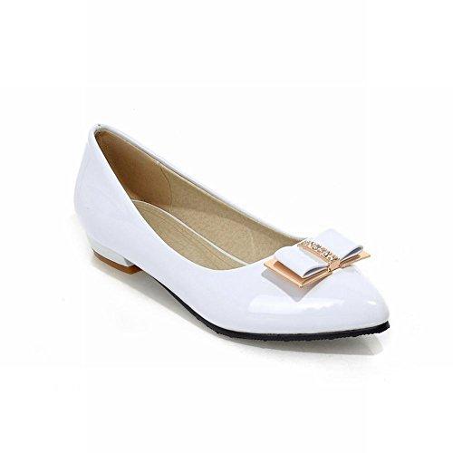 Carolbar Sexy Femmes Bout Pointu Arcs Strass Mode Élégance Casual Appartements Mocassins Chaussures Blanc