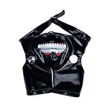 Edealing 1PCS Cosplay Tokyo Ghoul Kaneki Ken Adjustable Zipper PU Leather Mask Halloween Prop