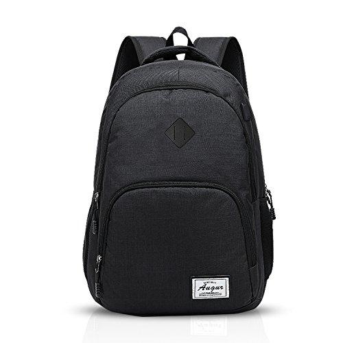 FANDARE Rucksack 15.6 Zoll Laptoprucksäcke Schulrucksack Studenten Daypack USB Port Polyester Grau Schwarz