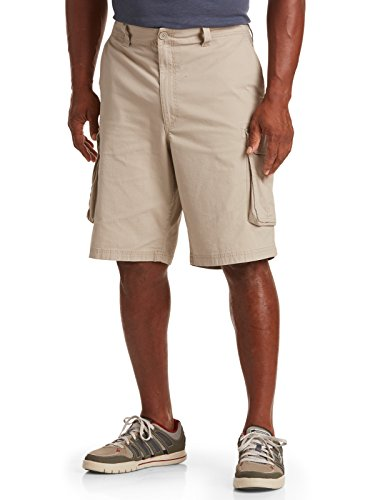 True Nation by DXL Big and Tall Ripstop Stretch Cargo Shorts (50, Khaki)