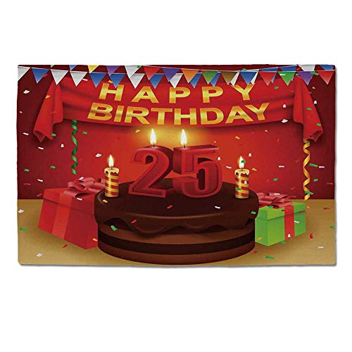 YOLIYANA 25th Birthday Decorations Durable Door Mat,Triangular Flags Presents Boxes Confetti Rain on Table Colorful for Home Office,One Size ()